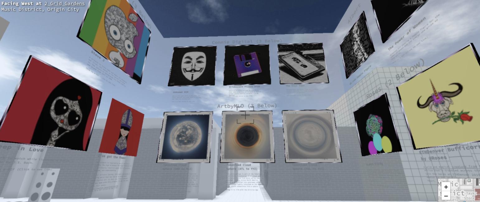 Digital art gallery in Cryptovoxels